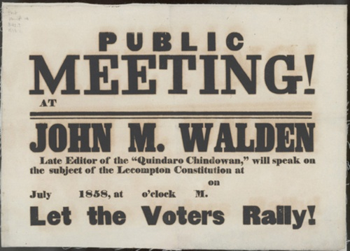Image of a broadside announcing a public meeting about the Lecompton constitution