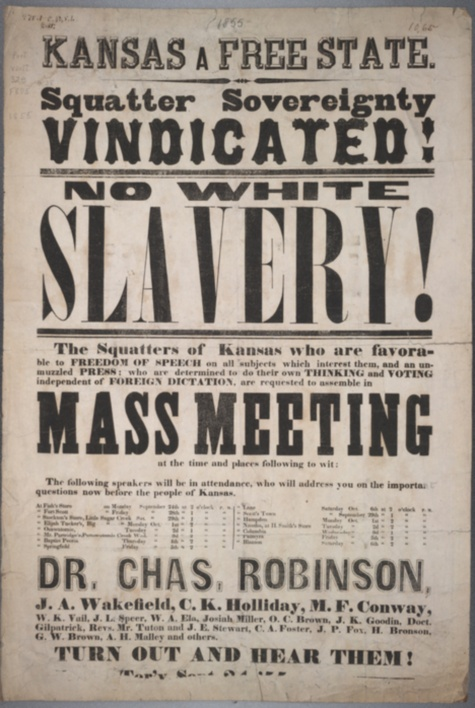 Image of advertisement of an anti-slavery meeting to be held on December 2, 1859, in Lawrence, on the day that abolitionist John Brown was executed, November 26, 1859