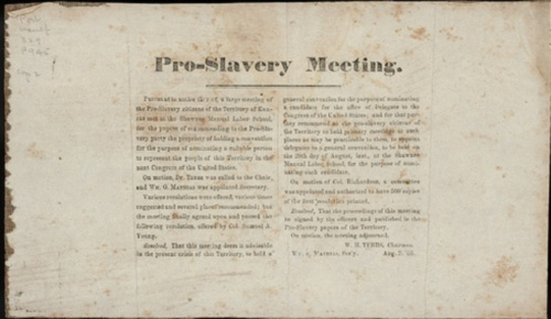 Document summarizing the proceedings of a meeting held by proslavery supporters