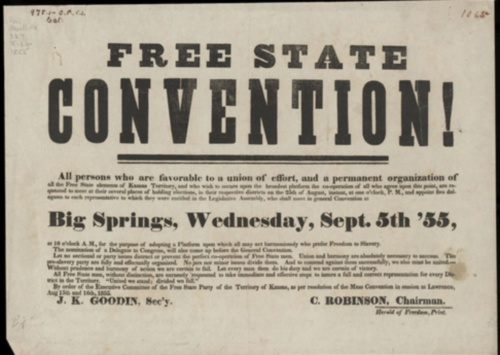 Call for August 25, 1855, district elections of delegates to represent Free State Party interests at a Free State Convention in Big Springs