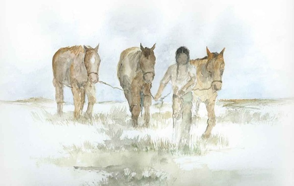 Watercolor painting of American Indian man and three horses.