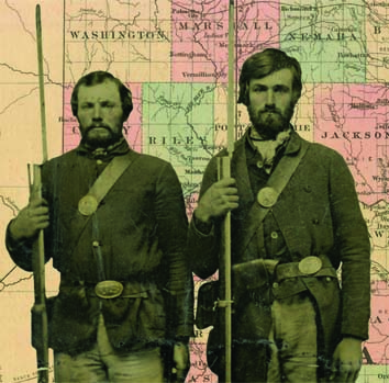 Two Union soldiers placed in front of a Civil War era Kansas map
