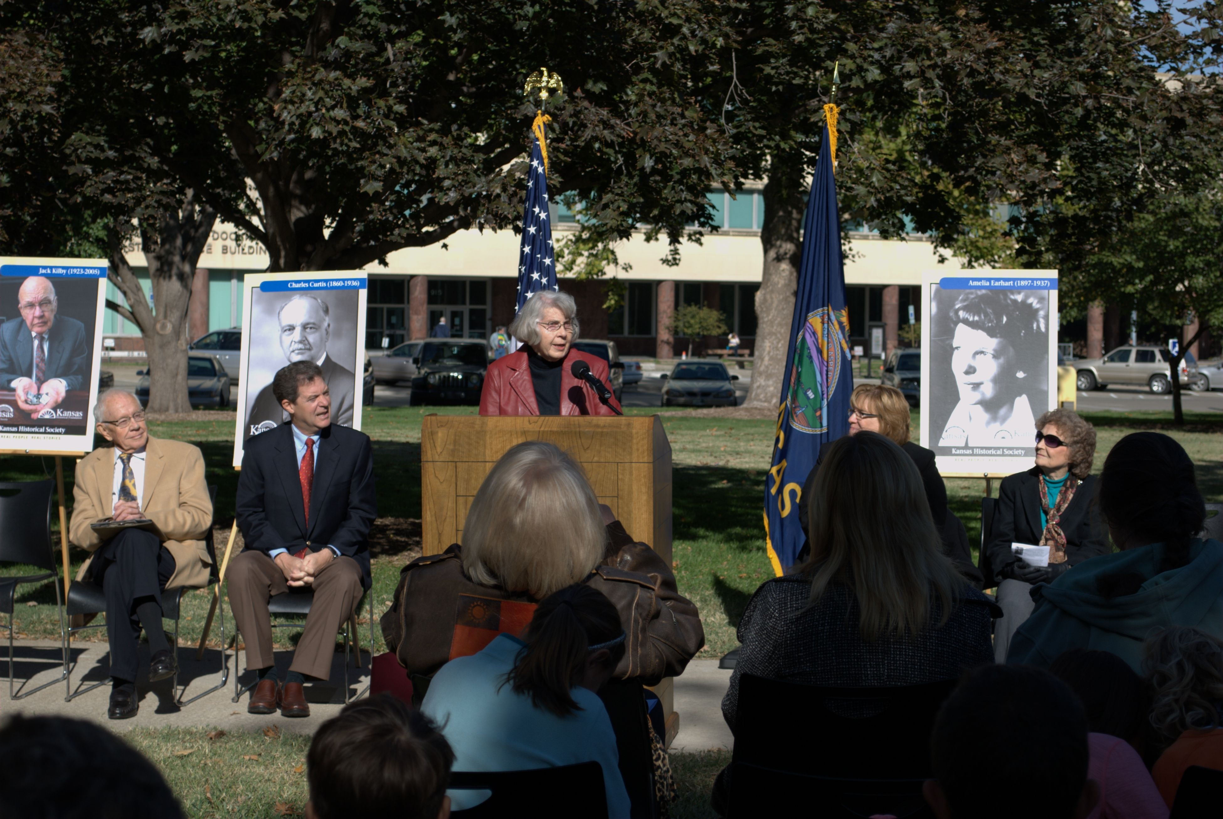 Nova Cottrell inducting Charles Curtis into the Kansas Walk of Honor
