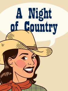 A Night of Country logo - cartoon cowgirl with hat