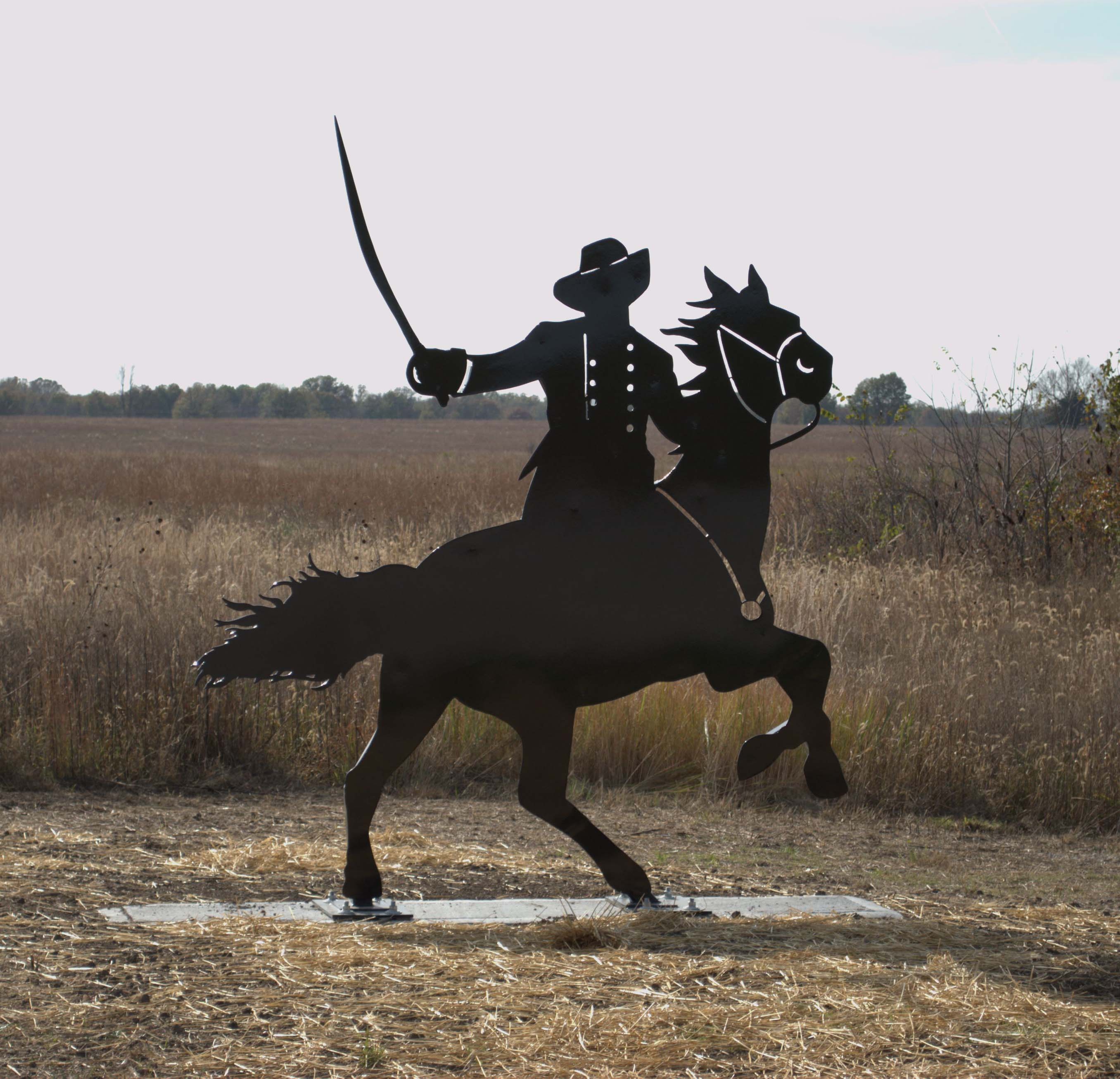 Cavalry man metal art at Mine Creek Civil War Battlefield State Historic Site