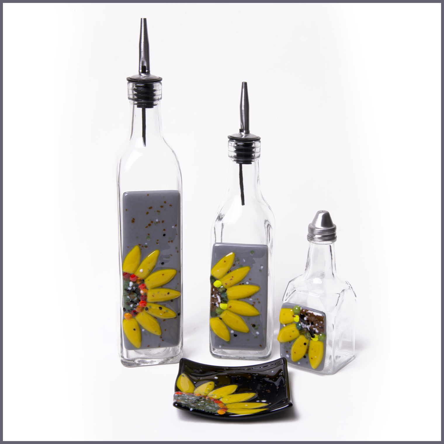 Sunflower glassware art.