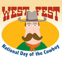 West Fest logo - cartoon cowboy with hat and big mustache
