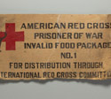 Part of cardboard box that once held rations from the American Red Cross for prisoners of war, 1942-1945