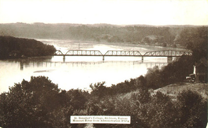 Postcard view of the Missouri River and bridge looking from St. Benedict's College, Atchison