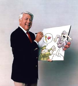 Mort Walker holding drawing of Beetle Bailey and Sarge.