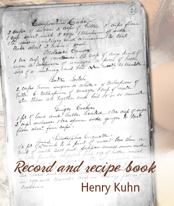 Henry Kuhn Record and Recipe Book
