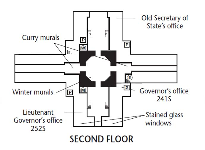 Kansas State Capitol, second floor map