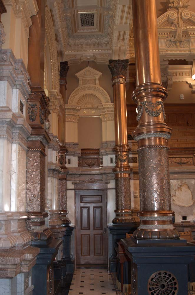 Brass columns in Senate Chamber