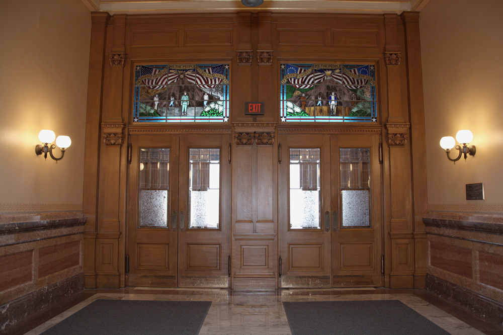 Stained glass windows on the second floor of the Kansas State Capitol
