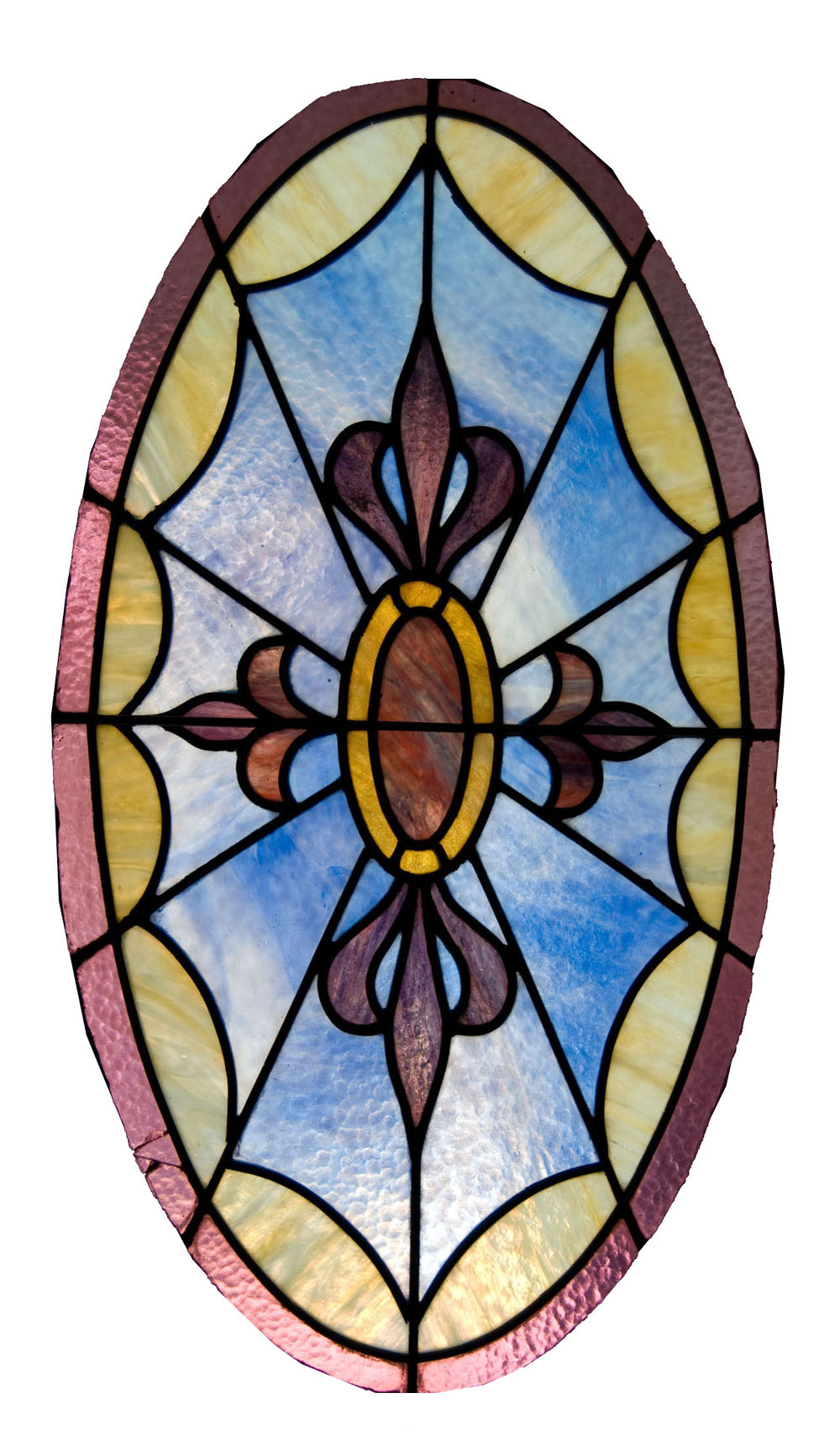 Interior view of stained glass window in guest bedroom, Cottonwood Ranch State Historic Site