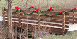 Bridge at Shawnee Indian Mission, decorated for the holidays