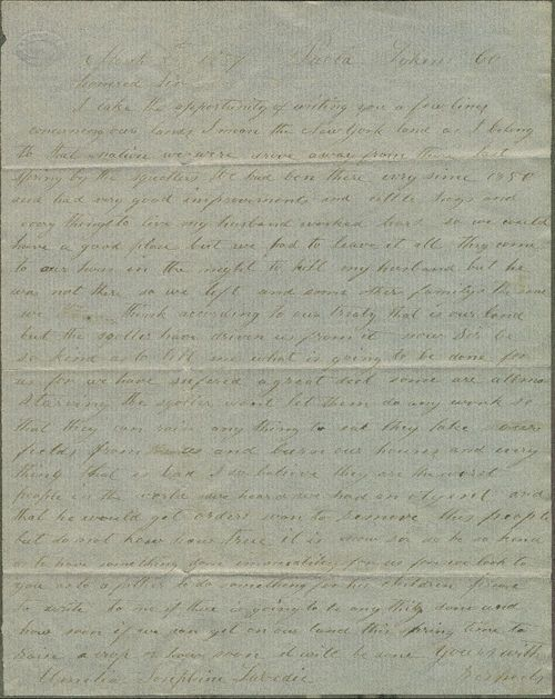 Amelia Labedia letter in Kansas Memory