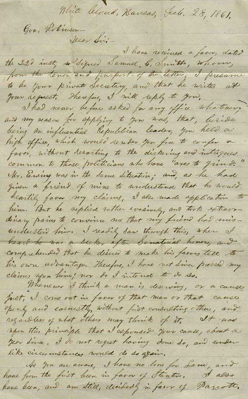 Solomon Miller letter to Governor Charles Robinson