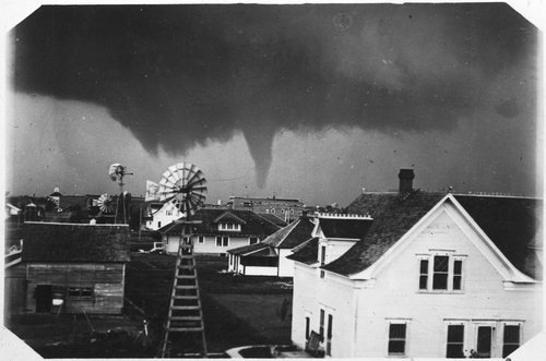 This 1915 tornado was captured on film over the skyline of Mullinville in Kiowa County.