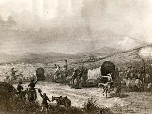 Arrival of the Caravan by Josiah Gregg, circa 1844