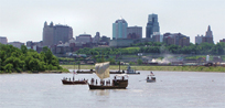 July 4, 2004 reproduction boats of the Lewis and Clark expedition in Kansas City, courtesy Kansas City, Kansas Library