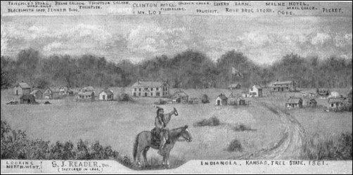 Samuel J. Reader's water-color of Indianola; please click for larger view and text