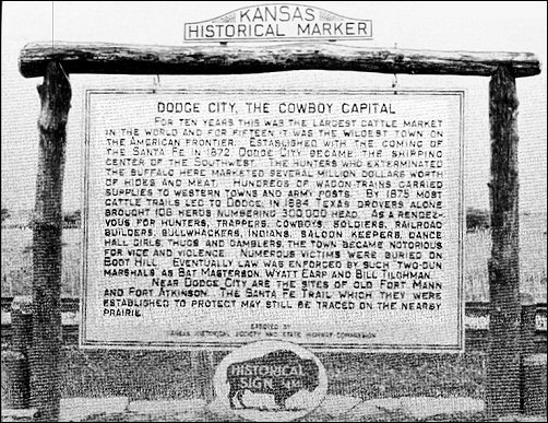 Dodge City, Cowboy Capital marker