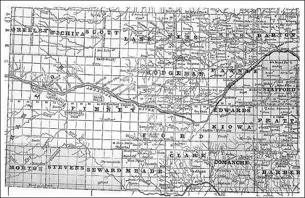 A map of booming southwest Kansas, 1886