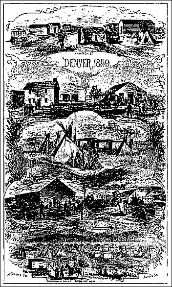 [sketches of various scenes of Denver in 1859.]