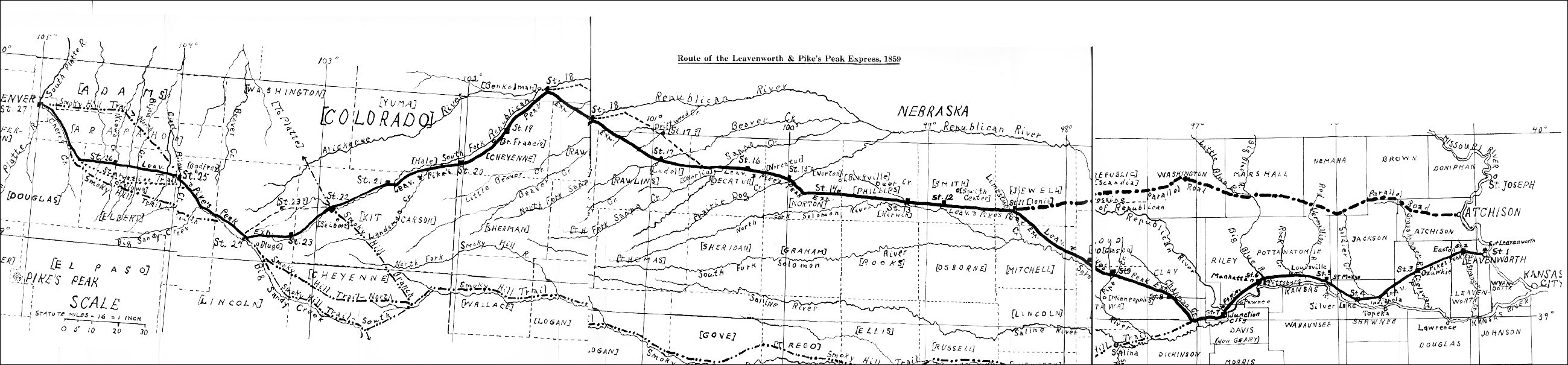 [Map of the Leavenworth-Denver Express Route, 1859.]