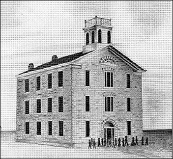 [drawing of Bluemont Central College, Kansas, in 1867.]