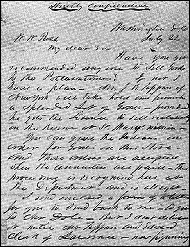 [First Page of the 'ross letter.']