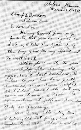 [Letter from Dwight Eisenhower, thanking Senator Bristow for his appointment to West Point.]