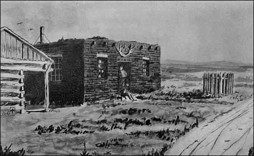 [Small log cabin; a Pony Express rider rides away in the foreground.]