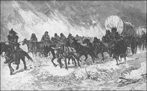 [Wagons pressing on through a blizzard.]