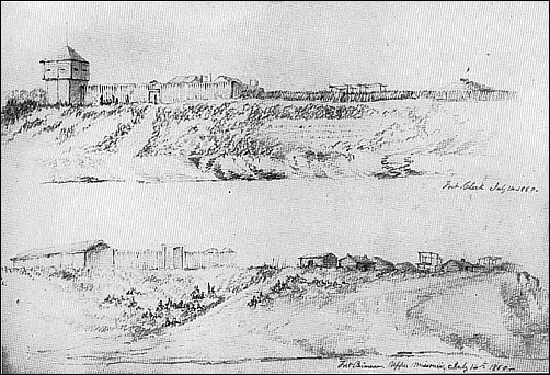 [sketch of fort on a short bluff and another sketch of a road leading to a low fort]