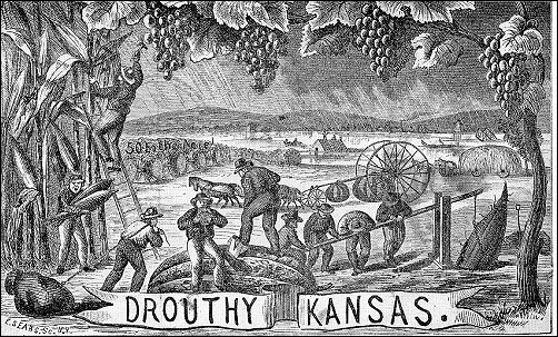 Elaborate oster showing men working fabulously abundant farms in 'Drouthy Kansas'