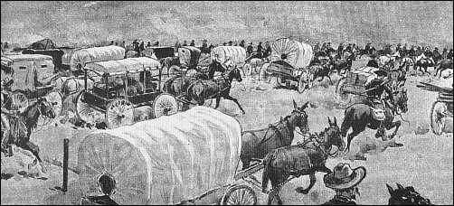 mad rush of wagons, horses and people in the Oklahoma Land Rush of 1893