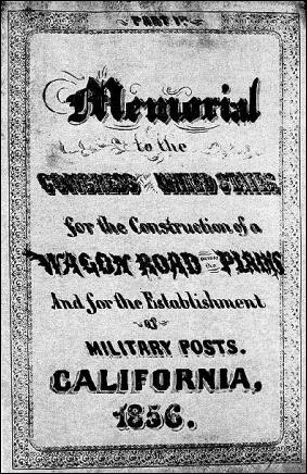 Title page of California Memorial to Congress, 1856