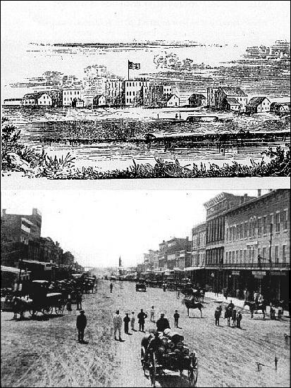 views of Lawrence KS in 1856 and 1867