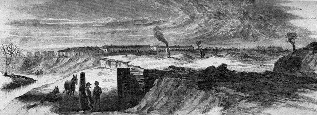Fort Larned as sketched by Theodore R Davis 1867