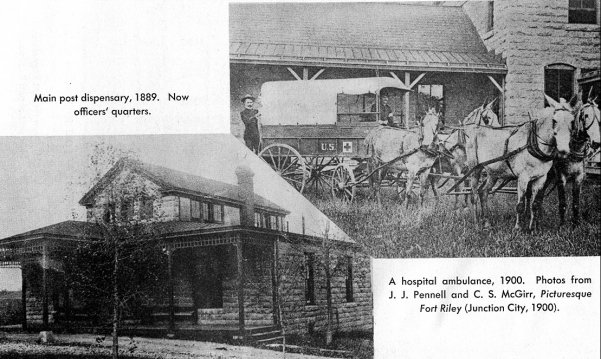 Main post dispensary 1889, left side and hospital ambulance 1900, right side