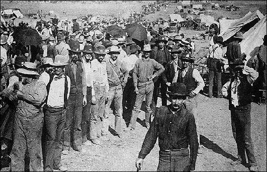 preparing for the Cherokee Run near Arkansas City KS, September 14, 1893