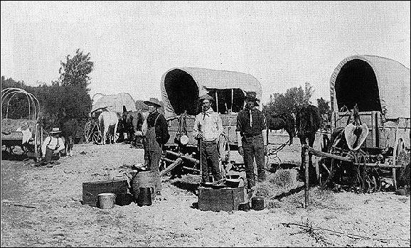 waiting for the opening of the Cherokee Strip near Arkansas City KS, September 1893
