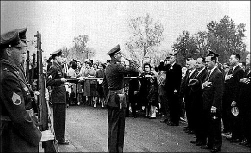 Kansas Gov. John Anderson and Missouri Gov. John Dalton review honor guard, 25 Oct 1964