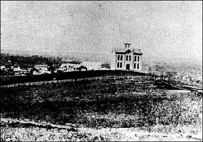 Photo of first K.U. building, Old North College, 1867