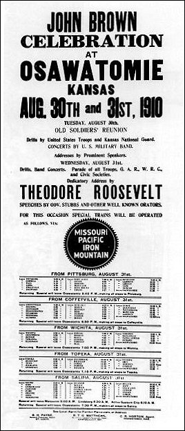 Railroad poster advertising Theodore Roosevelt's 1910 speech in Osawatomie KS
