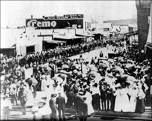 Osawatomie Main Street when Theodore Roosevelt spoke in 1910