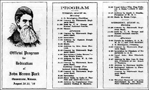 Program for dedication of John Brown Park in Osawatomie KS, Aug. 10, 1910