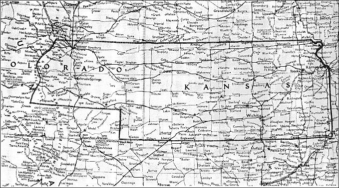 Map of the proposed borders of Kansas